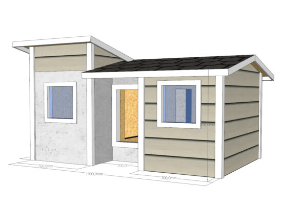 Koirankoppi eteisellä ja ikkunalla Koirankoppion lämpöeristetty, kaksihuoneinen sekä ikkunallinen