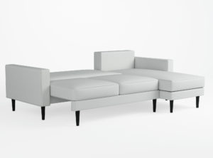 Vaalea sohva koiraperheeseen
